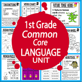 1st Grade LANGUAGE Unit (Posters, Games, + 22 First Grade Grammar Lessons)