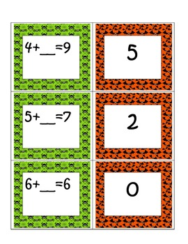 First Grade Common Core Math Addition Card Match-up- Unknown Addend