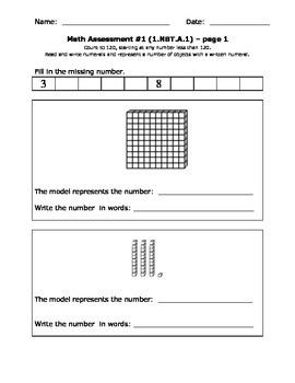 First Grade Common Core Math Assessment & Practice Sheets 1.NBT.A.1