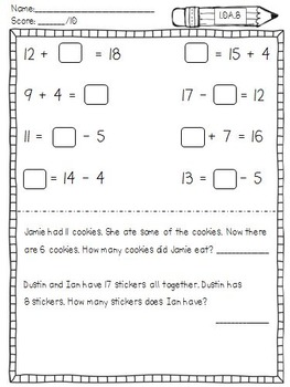 First Grade Common Core Math Assessment Tasks (Second Quarter)