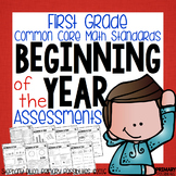 First Grade Common Core Math Assessments- BOY (Beginning of Year) Assessment