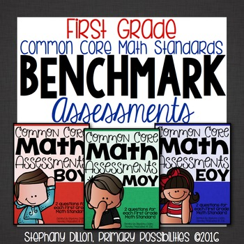 First Grade Common Core Math Assessments- Benchmark Assessment Bundle