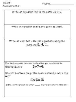 First Grade Common Core Math Assessments-Complete Set