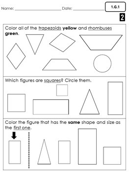 First Grade Common Core Math Assessments- Geometry