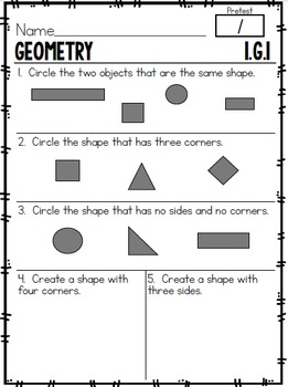 First Grade Common Core Math Assessments- Geometry 1.G.1, 1.G.2, 1.G.3
