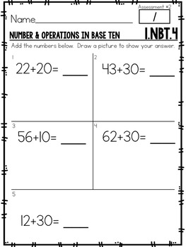 First Grade Common Core Math Assessments-  Numbers & Operations in Base 10 (3-6)