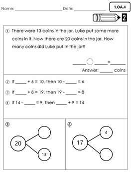 First Grade Common Core Math  Assessments- Operations and Algebraic Thinking