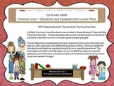 1st Grade Common Core Math Checklists and Drop Down Lesson Plans