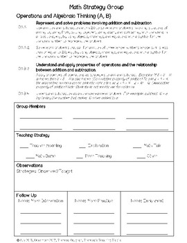 Common Core Math Conference Form First Grade