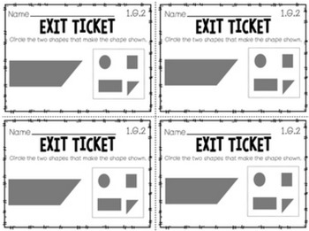 First Grade Common Core Math Exit Tickets- Geometry 1.G.1, 1.G.2, 1.G.3