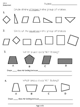 First Grade Common Core Math (G)-Assessments, Practice Sheets, and Activities