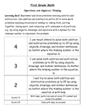 First Grade Common Core Math Learning Goal Scale/Rubric
