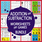 Addition & Subtraction Centers (24 Games + 72 Addition & Subtraction Worksheets)