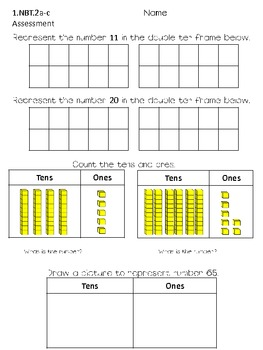 First Grade Common Core Math NBT Assessments, Practice Sheets, and Activities
