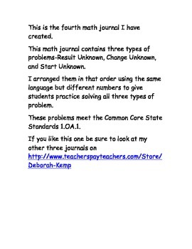 First Grade Math Word Problems Journal - Part 4 - Common Core Aligned