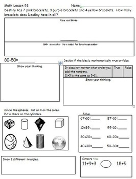 First Grade Common Core Math Spiral Worksheets and Homework (Set 2)
