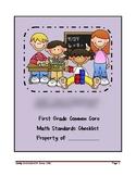 First Grade Common Core Math Standards Checklist