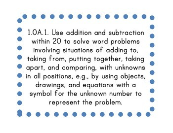 First Grade Common Core Math Standards Posters