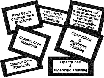 First Grade Common Core Math Standards Posters: Black & Wh