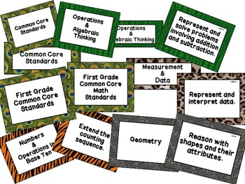First Grade Common Core Math Standards Posters: Jungle Theme