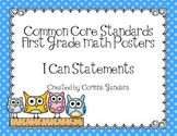 First Grade Common Core Math Standards Posters-Owl Theme