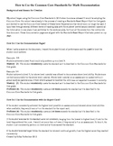 First Grade Common Core Math Standards, Standards Based Report Card