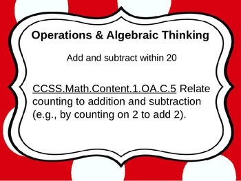 First Grade Common Core Math Standards for wall-Christmas