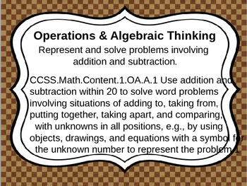 First Grade Common Core Math Standards for wall- School