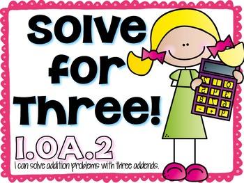 First Grade Common Core Math Station 1.OA.2 { Free }