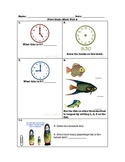 First Grade Common Core Math Unit Measurement and Time test