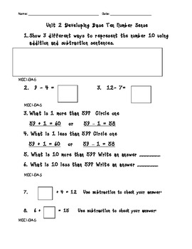 First Grade Common Core Math Unit tests 1 & 2