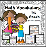 Math Word Wall, Math Vocabulary & Interactive Notebook Inserts for First Grade