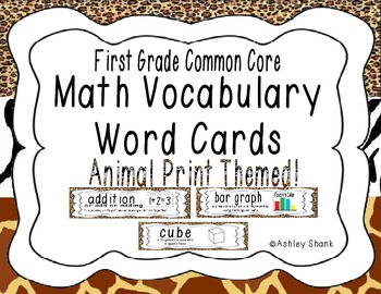 First Grade Common Core Math Vocabulary Word Cards - Animal Print
