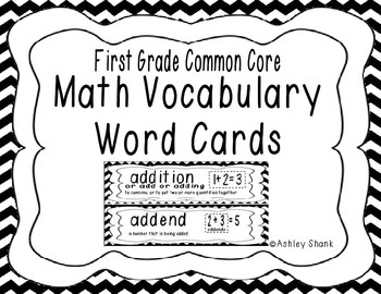First Grade Common Core Math Vocabulary Word Cards - Black Chevron