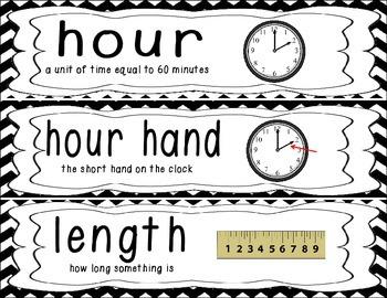 First Grade Common Core Math Vocabulary Word Cards - Black Chevron