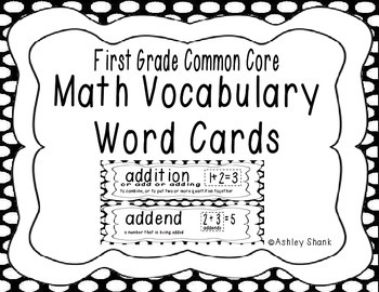 First Grade Common Core Math Vocabulary Word Cards - Black Polka Dots