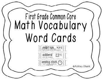 First Grade Common Core Math Vocabulary Word Cards - Black