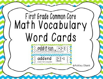 First Grade Common Core Math Vocabulary Word Cards - Blue & Green Chevron