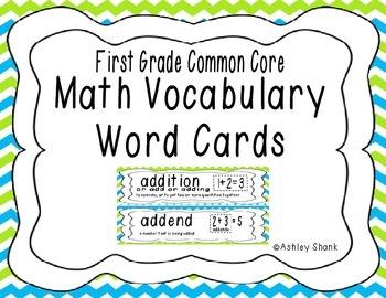 First Grade Common Core Math Vocabulary Word Cards - Blue & Green Chevron
