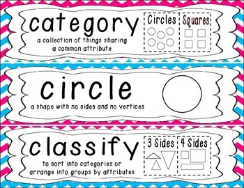 First Grade Common Core Math Vocabulary Word Cards - Blue & Pink Chevron