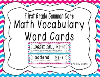 First Grade Common Core Math Vocabulary Word Cards - Blue
