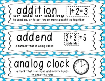 First Grade Common Core Math Vocabulary Word Cards - Blue Polka Dots