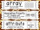 First Grade Common Core Math Vocabulary Word Cards - Giraffe Print
