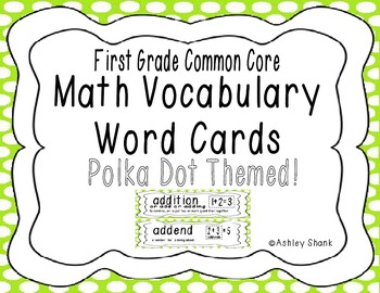 First Grade Common Core Math Vocabulary Word Cards - Green