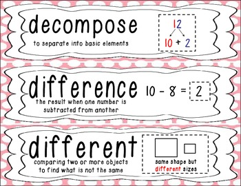 First Grade Common Core Math Vocabulary Word Cards - Pink Polka Dots