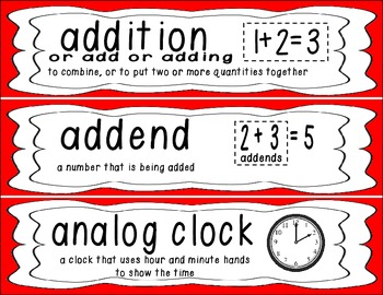First Grade Common Core Math Vocabulary Word Cards - Red