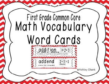 First Grade Common Core Math Vocabulary Word Cards - Red Chevron