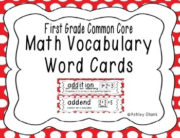 First Grade Common Core Math Vocabulary Word Cards - Red Polka Dots