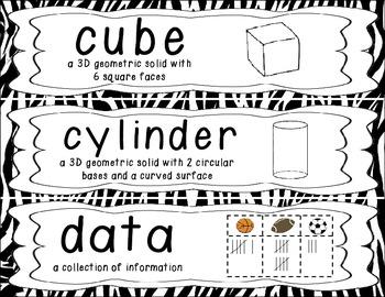 First Grade Common Core Math Vocabulary Word Cards - Zebra Print
