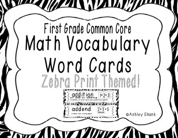 First Grade Common Core Math Vocabulary Word Cards - Zebra Print